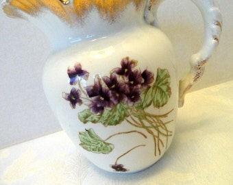 Antique Victorian Water Pitcher John Maddock and Sons,  Cream and Violet Purple/ Vintage Milk Pitcher