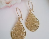 STORE CLOSING SALE Bohemian Swirl - Gold Teardrop Earrings