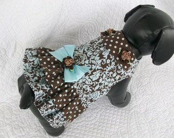 Brown and Blue  Dog Dress or Cat Dress  Double Ruffle  and Collar Harness Dress