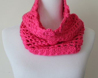 Crocheted Pink Neckwarmer Cowl