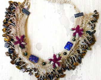 Hand Crochet and beaded Earth Tone Choker Necklace