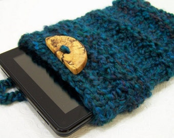 Turquoise Knit IPad Mini Case, Kindle Fire Sleeve, Nook E Reader Case, Blue Knit IPad Sleeve, Turquoise Blue Knit Tablet Sleeve Case