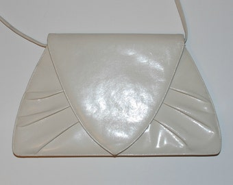 Vintage 80s Leather Purse Clutch Off White Pleated Removable Strap Med