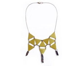 Geometric Bib Necklace, Quartz Necklace, Statement necklace