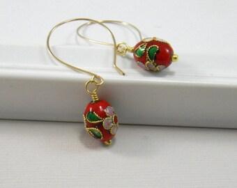 Red Cloisonne Earrings Red Dangle Earrings Gold Filled Earwires Fashion Earrings