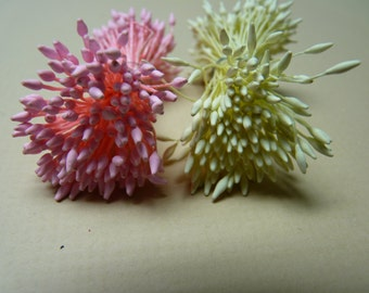 One bundle of Floral Stamen with Double Sided Matte Pointed Tips -- Pink Or Ivory (You Pick The Color)