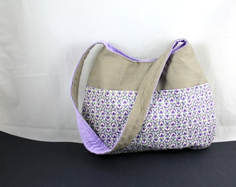 The Millie Bag by Nstarstudio - Hobo Shoulder Sling Bag- Recycled Fabrics in Purple Floral Print and Gray  Cotton Blend