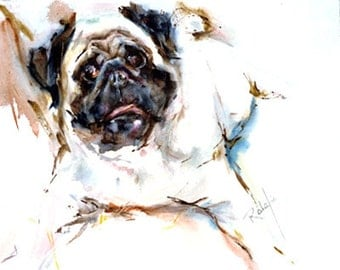 Pug Watercolor Fine Art dog print signed by the Artist Carol Ratafia double matted to16x20