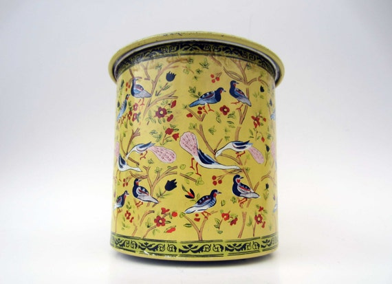 Vintage French metal BOX  - yellow pattern BIRDS and FLOWERS