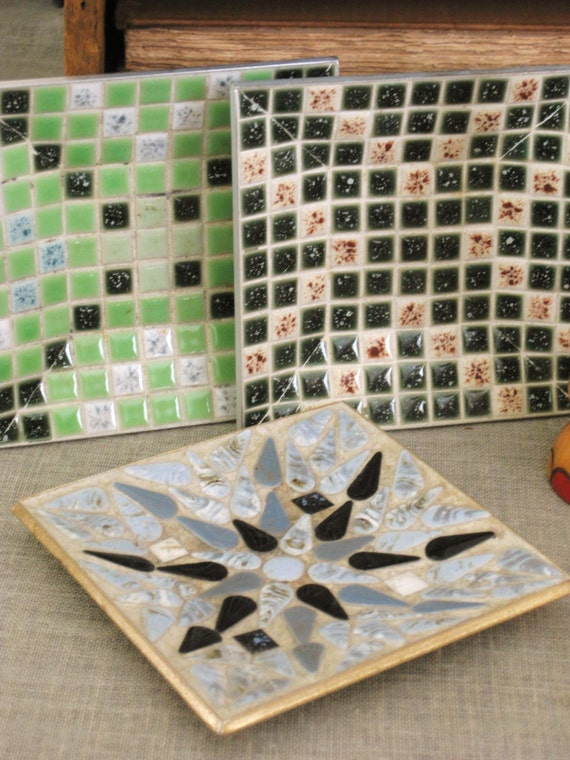 40% OFF Entire Shop - Vintage Collection of Mid-Century Mosaic Plates- Vintage Penthouse