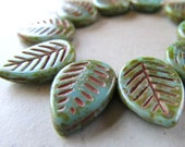 18 x 13mm Fennel Green & Coppery Brown Etched Czech Glass Leaves - 10 Pieces