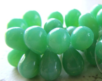 Czech Glass Teardrop Beads 9 x 6mm Smooth Opalite Sea Foam Green - 50 Pieces