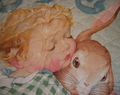 Victorian Child with Rabbit Vintage Toys Wall Hanging Fabric Art Quilted Baby Quilt