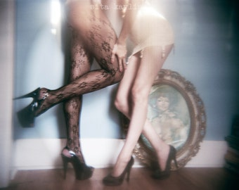 intrigue, girls, legs, holga, watercolor paper, film, high heels, erotic  4x5, 8x10, 11x14