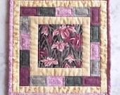 Quilted Mug Rug, Pink Iris