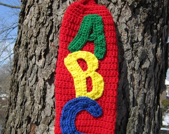 Plastic Bag Holder Red ABCs, Teacher Gift, Alphabet Bag Holder, Baby Shower Gift, Walmart Bag Holder, End of Year Present, Daycare Decor