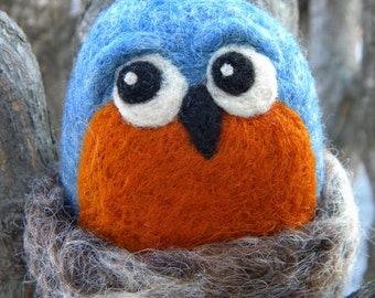 Bluebird with Nest - Needle Felted Toy
