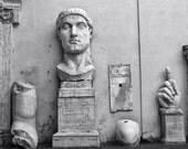 Fine Art photography, Rome, Italy, sculpture, Capitoline, head, antique, black and white,8x10