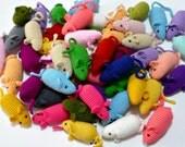 Cat Toys Crochet Mice Mini Plush Amigurumi Mouse     (3 pieces, no catnip)