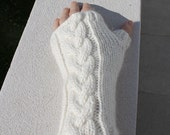 White fingerless gloves with cable hand knit merino alpaca silk mix