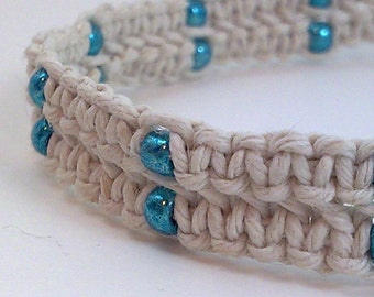 White Hemp Anklet with Metallic Blue Glass Beads