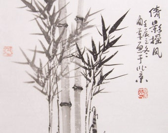 original chinese ink painting bamboo painting  oriental art chinese art -lovely bamboo in the snow No.12