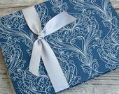 Wedding Guest Book, Sapphire Blue Shimmer, Select a size, MADE upon ORDER