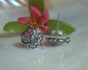 2 Pairs - Best Seller, Sterling Silver Filigree Floral Ear Post Earrings With Premium Ear Nuts, 12x10 mm - EP-0001