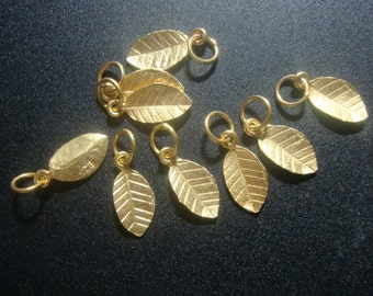 24K Gold Vermeil on 925 Sterling Silver Tiny Leaf Pendant Charm with Bail, 6 pcs, Handmade Findings,PC-0186