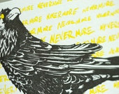 SALE - Halloween Letterpress card - Nevermore Raven - 60% off