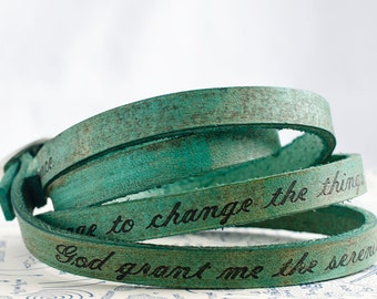 Serenity Prayer on Ultra Long Leather Wrap Bracelet in Aqua Green