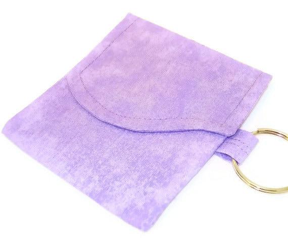 Mini Wallet Pocket Pouch Key Ring Key Chain  Credit Card Holder Case Purple