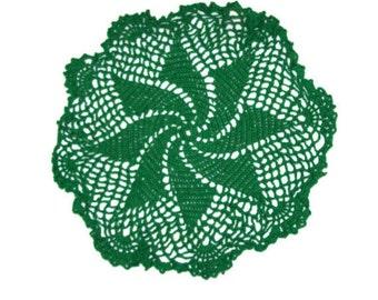 """Green Pinwheel Doily 11""""  Crochet Doily St. Patrick's Day Home Decor"""