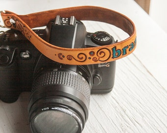 Custom Camera Leather Wrist  Strap - add your name, stain decoration and hardware - Swivel clip - hand tooled leather