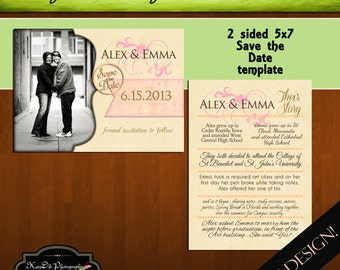 Now Available for INSTANT DOWNLOAD Save the Date Template/PSD file Their Story 5x7