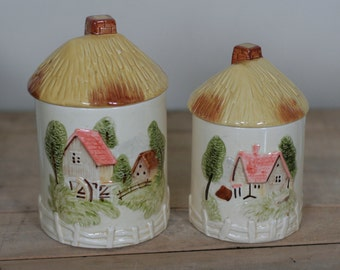vintage ceramic cottage canisters set of two