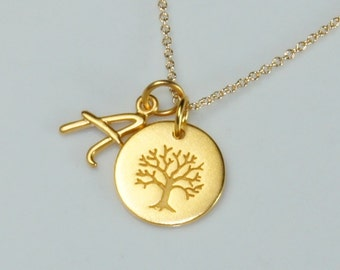 Family Tree Necklace adorned with a Custom Initial Charm, Free US Shipping
