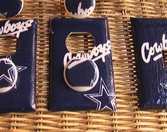 Dallas Cowboys Set Light Switch Toggle Cover Plate and 2 Outlets White or Blue
