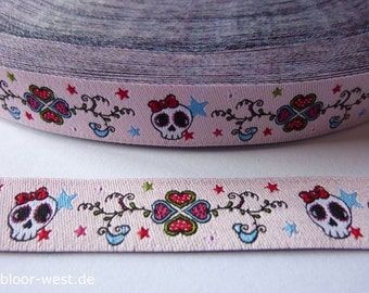 Jacquard Ribbon Trim Lovely Skulls pink   from PüppiLotta 1meter