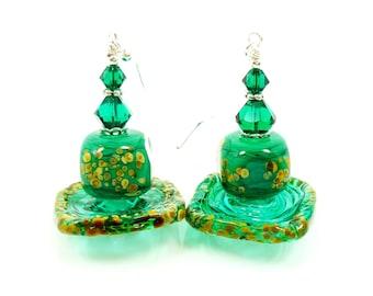 Green Earrings, Lampwork Earrings, Glass Earrings, Glass Bead Earrings, Beadwork Earrings, Unique Earrings, Unusual Earrings, Modern Earring