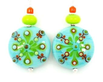 Turquoise Blue & Lime Green Earrings, Lampwork Earrings, Glass Earrings, Glass Bead Earrings, Beadwork Earrings, Southwestern Earrings