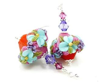 Colorful Floral Earrings, Lampwork Earrings, Glass Earrings, Multicolored Earrings, Glass Bead Earrings, Glass Earrings, Beadwork Earrings