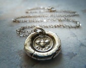 Bee Wax Seal Necklace. Recycled Fine Silver Victorian Bee Pendant. Artisan Jewelry