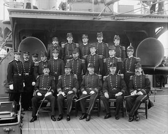 USS Texas circa 1903 Naval grouping image 8 1/2 x 11 reproduction