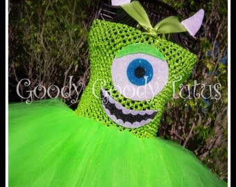 LITTLE GREEN MONSTER Monsters Inc Inspired Tutu Dress with Ear Clippies - Large 4-6t