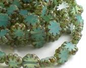 9mm Blue Flower Beads Czech Glass Beads Picasso 25 pcs. F-1001