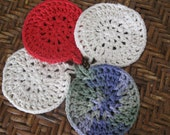 Crochet Face Wash Scrubbie-Red white Blue