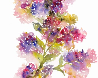 Purple Lilacs, Watercolor Fine Art Print, Watercolor Flowers, Watercolor Purple Flowers