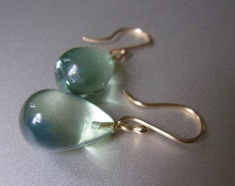 Green Fluorite Drop Earrings with Solid 14k Yellow Gold