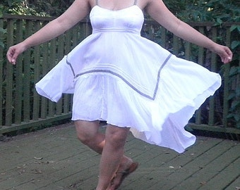 White Cotton(Med)Summer Dress Now on Sale 25% OFF